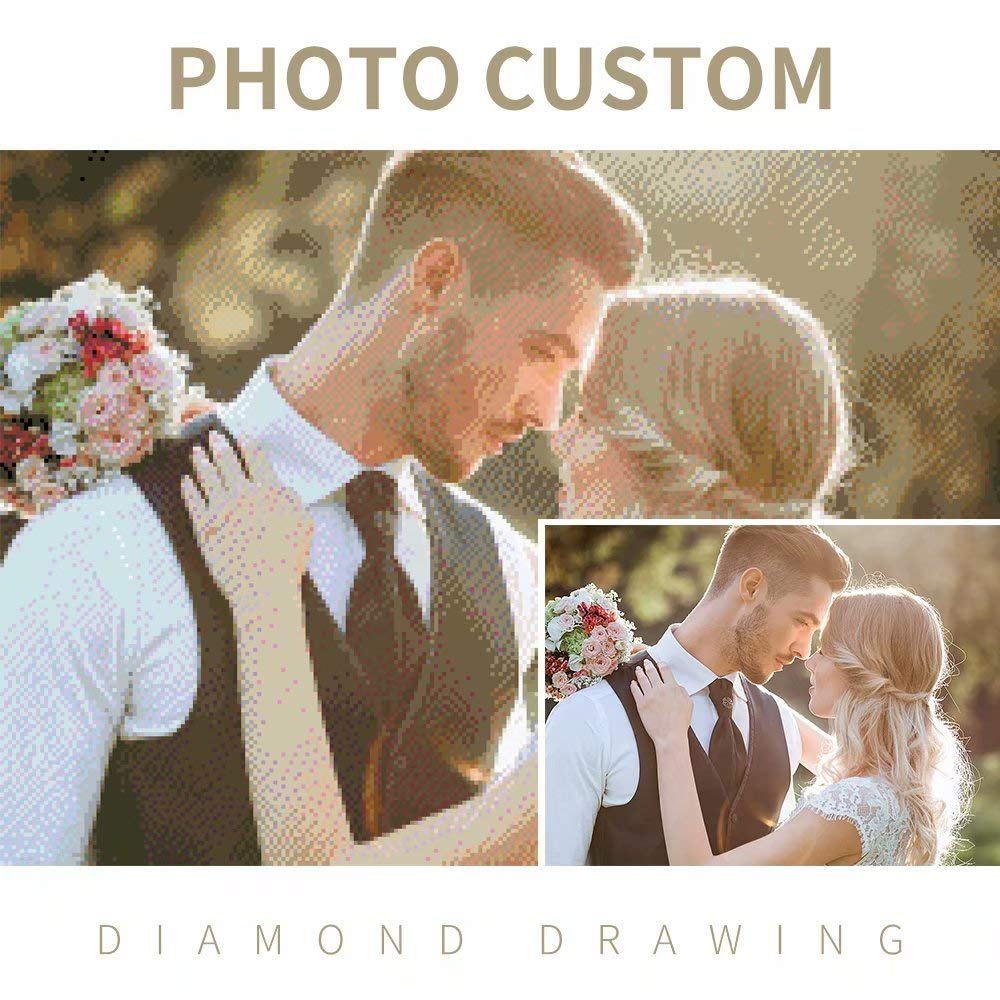 Custom Photo Diamond Painting Personalized 5D DIY Diamond Painting by Number Kits, Full Drill Diamond Embroidery Kit Home Wall Decor by Hua Meng