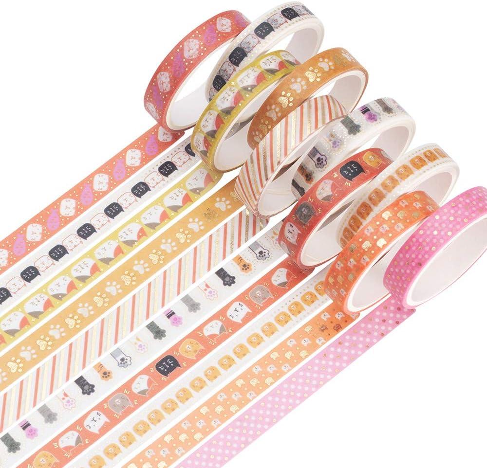 YUBBAEX 10 Rolls Sparkling Washi Tape Set 8mm Skinny Gold Foil Decorative Masking Washi Tapes for Bullet Journal,Scrapbook, Planner, DIY Crafts (Cute Kitten)