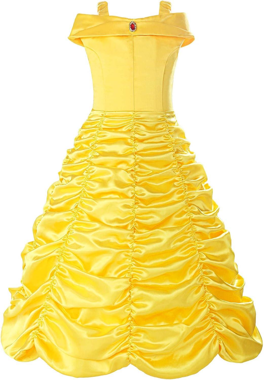ReliBeauty Robe de Princesse avec Bretelles D/éguisement Cosplay Jupe ruch/é Tenue de Conte de f/ée pour Enfant Boucle Amovible Fille