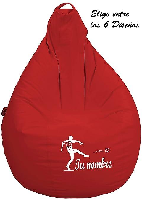 loconfort Puff Pera Personalizado con TU Nombre Poli Piel Toffee (L NIÑO/A, Rojo)