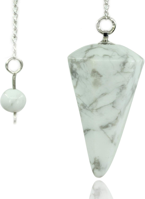 Chenyue - Péndulo de piedras preciosas de howlita blanca natural de 12 facetas de cristal hexagonal con punta de reiki chakras