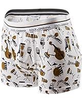 Dolce & Gabbana Men's Regular Boxer Shorts, Strumenti Schizzati, Cotton - White