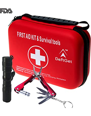 a344f6b247d5 DeftGet Compact First Aid Kit - Mini Survival Tools Box - Waterproof  Outdoor Medical Emergency Bag