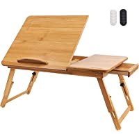 Hiveseen Bamboo Laptop Bed Desk Table Tray with Foldable Pull Down Legs and Storage Drawer, Multi-Position Adjustable…