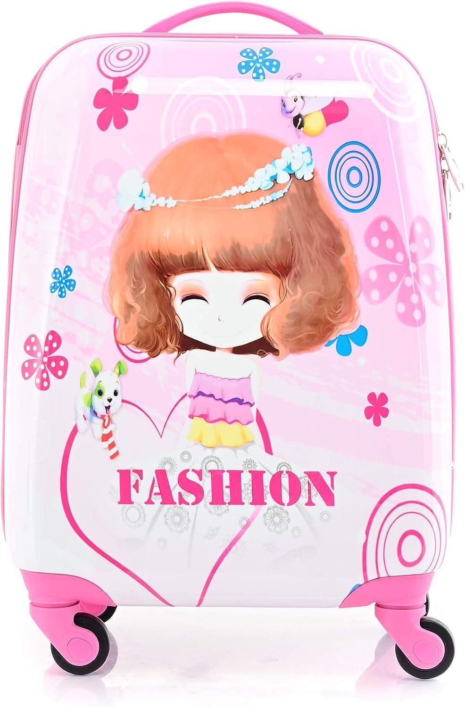 Valise pour Enfant avec Figurine de Dessin anim/é 4 roulettes Fashion Girl