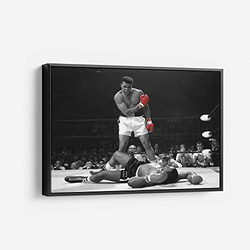 Sonny Liston vs Muhammad Ali Canvas Wall Art Print Knockout Black and White and Red Wall Art Home Decor 30in x 45in Modern Black Framed