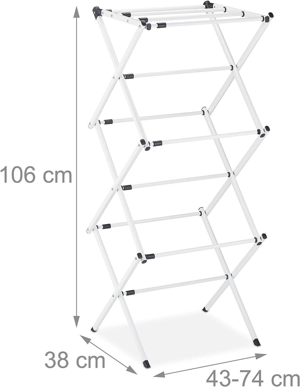 Relaxdays 10027905/_49 /étendoir lessive Blanc Plastique 1 s/échoir Tour Peu encombrant Pliable Extensible M/étal 11 tiges