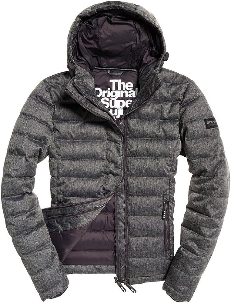 Superdry Mens Double Zip Tweed Fuji Hooded Jacket Grey Marl