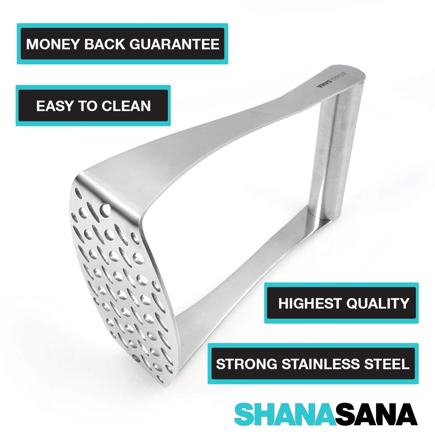 Flattening Chicken Heavy Duty Potato Masher and Much More Vegetables Perfect for Mashed Potatoes Wide Efficient Innovative Design STAINLESS STEEL Shanasana 4335495014