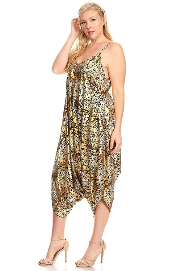ef9cea1e39b Amazon.com  Canari Plus Size Sleeveless Looses Fitting Harem Jumpsuit   Sports   Outdoors