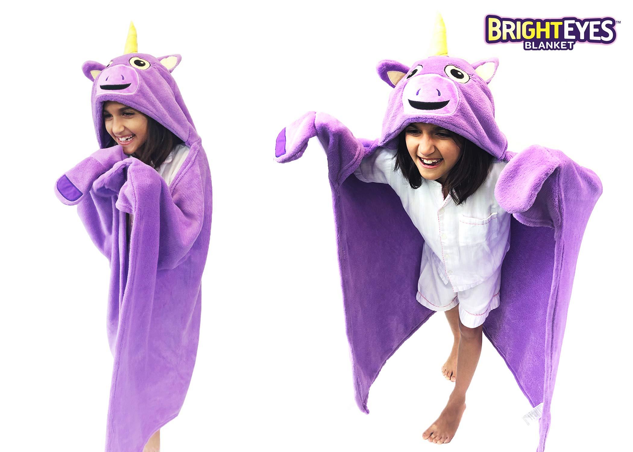 Bright Eyes Blanket - Super Soft Blanket for Kids - Hooded, Blanket, Robe - Comfy Throw Blanket, Purple Unicorn; Warm Fuzzy Blanket, stuffed animal blanket - Machine Washable - Perfect for Sleepovers! by Bright Eyes Blanket