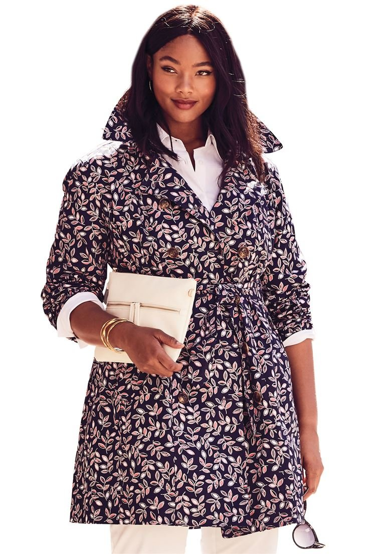 Jessica London Women's Plus Size Short Belted Trench Coat Navy Vine Print,28 W