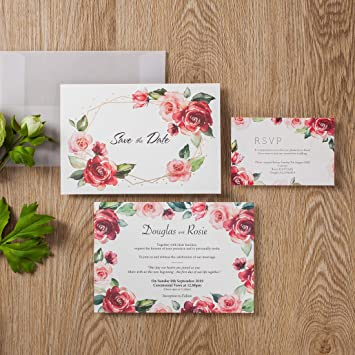 100 Wishmade Floral Red Rose Simple Design Wedding Invitations Card Stock Gold Foil Border With Sulfuric Paper Envelope For Engagement Bridal Shower