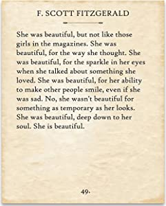 F. Scott Fitzgerald - She Was Beautiful. - 11x14 Unframed Typography Book Page Print - Great Gift Under $15 for Book Lovers