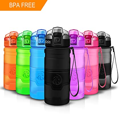 Water Drinking Bottle for Sports Cycling Bike Plastic BPA Free Easy Open 2 Pack