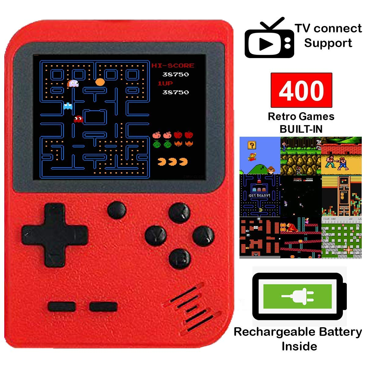 DigitCont Retro Mini Handheld Arcade, Built-in with 400 Classic Games Double Players Mode Miniature Console Handheld Portable Game Cabinet Machine Rechargeable Battery Inside Support Connect TV Red by DigitCont (Image #1)
