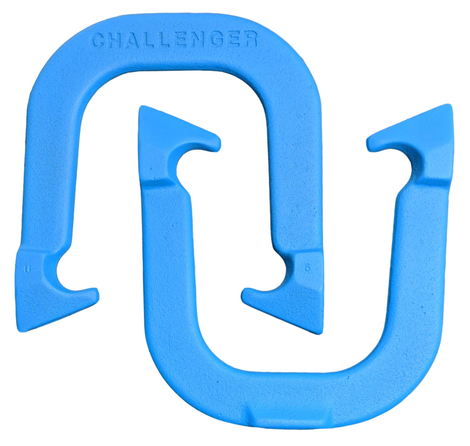 Challenger Professional Pitching Horseshoes- Made in USA (Blue- Single Pair (2 Shoes)) by Thoroughbred Horseshoes
