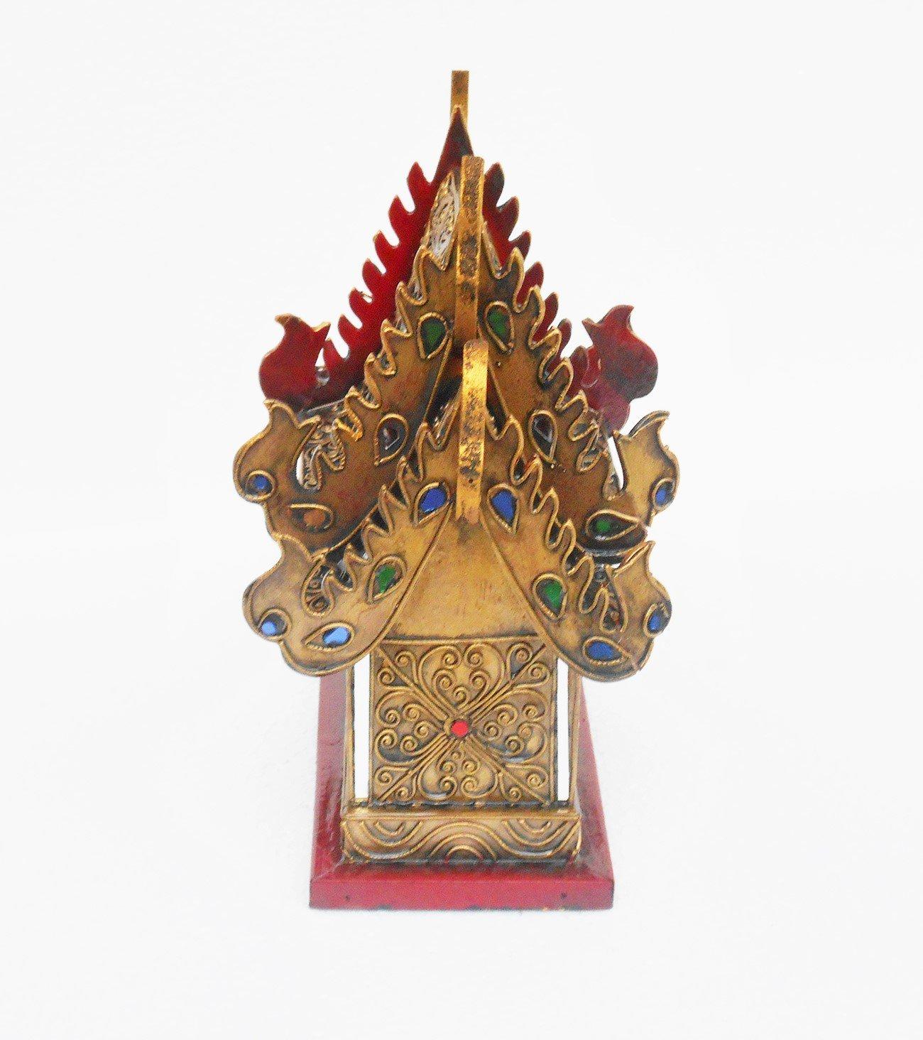 Thai Spirit House Large107 Sanpraphum10 Thai Handmade Spirit House Wood Gold Glass Color, by Thai Spirit House