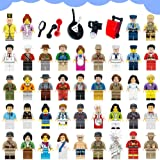 Harlerbo Minifigures Set of 40 - Compatible Minifigures with Interchangeable Accessories Set Mini Figures Community People Building Bricks Interlocking Toy Playset
