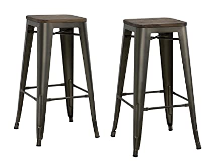 Super Dhp Fusion Metal Backless 30 Bar Stool With Wood Seat Distressed Metal Finish For Industrial Appeal Set Of Two Copper Ibusinesslaw Wood Chair Design Ideas Ibusinesslaworg