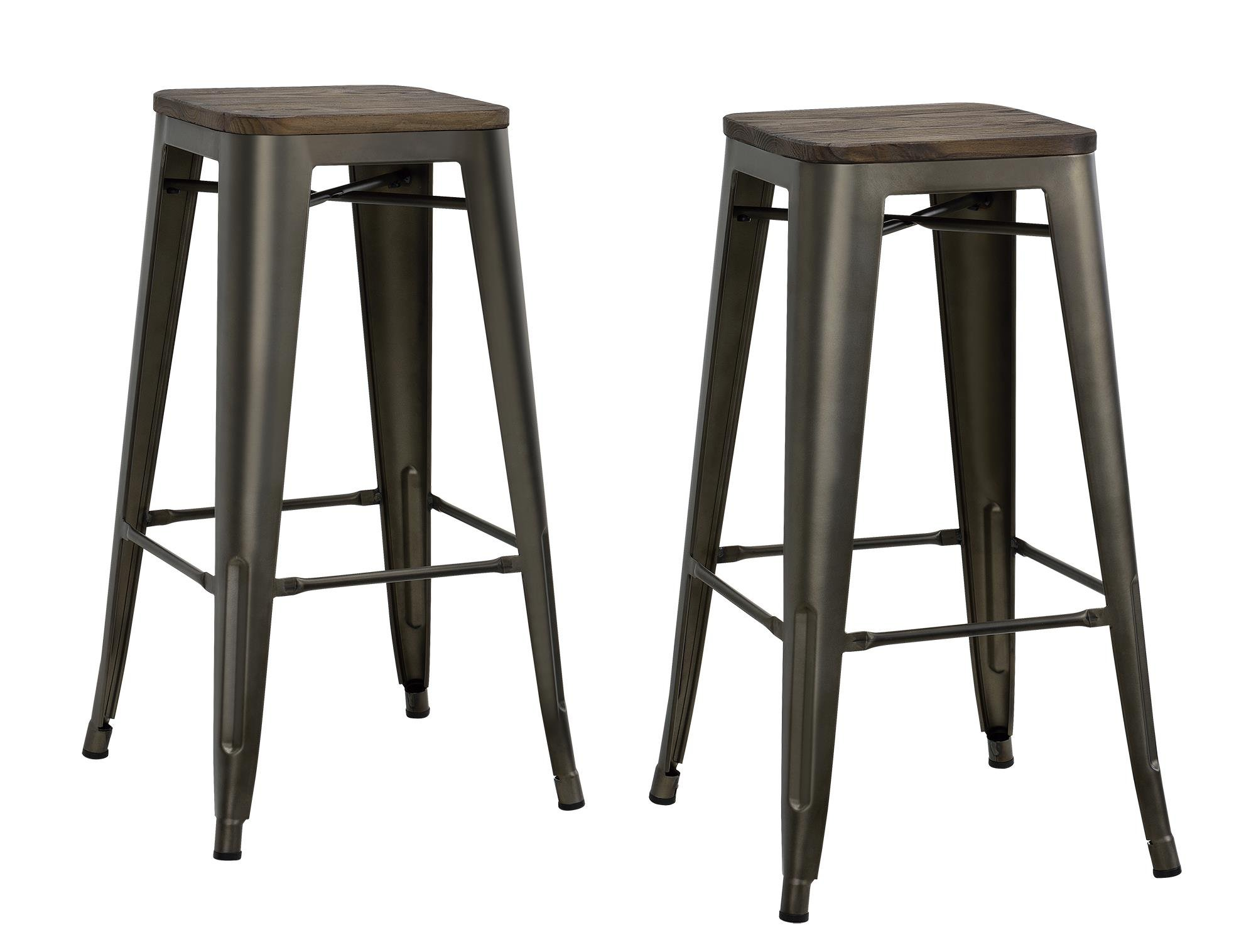 DHP Fusion Metal Backless Bar Stool with Wood Seat, Set of two, 30'', Brown