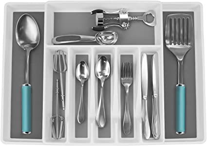 color blanco organizador de cubiertos de malla ajustable con alfombrillas antideslizantes para utensilios de cocina Organizador de cajones de cocina extensible de 6 a 7 compartimentos