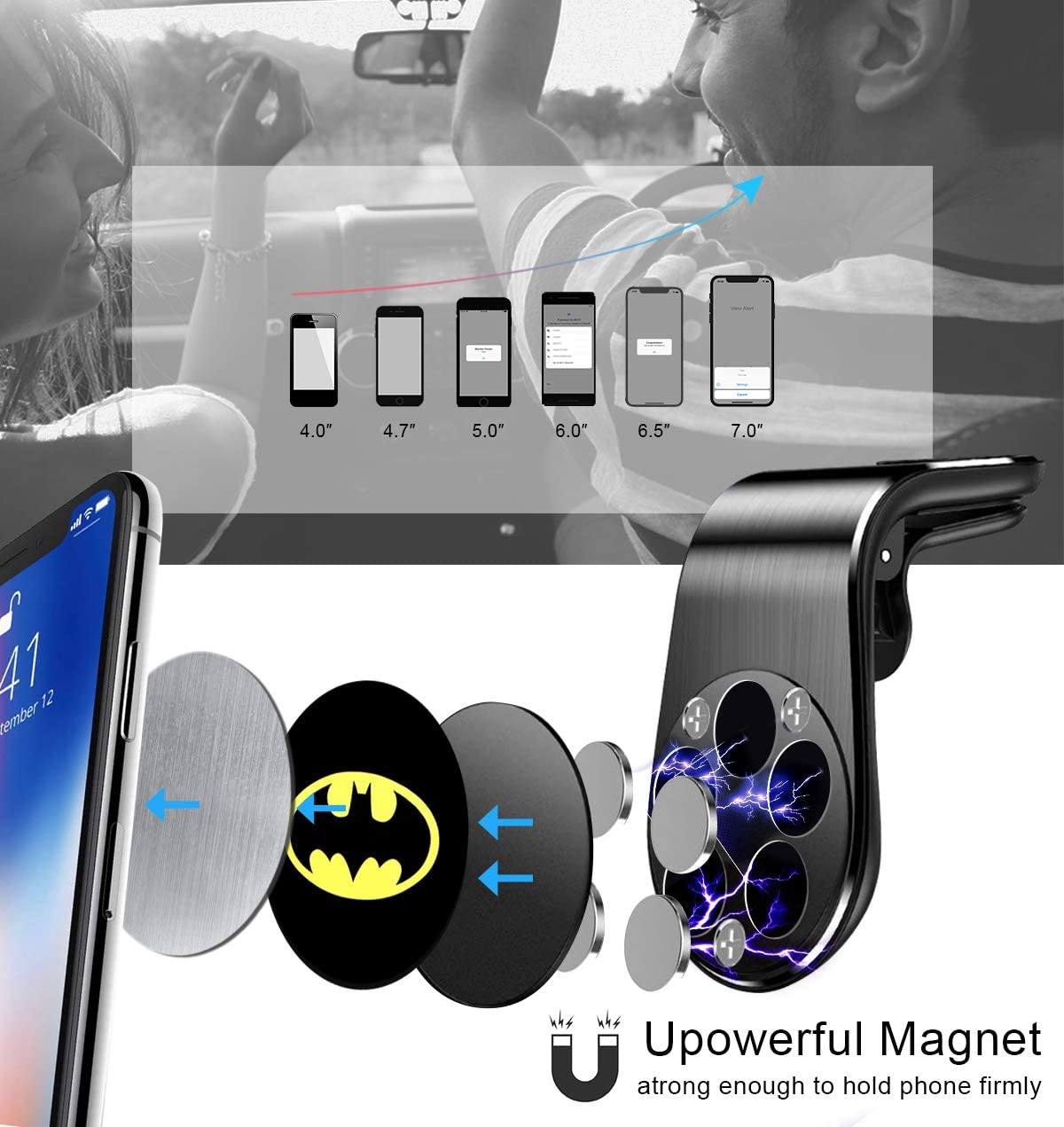 Magnetic Phone Car Mount 360/°Rotation Phone Holder for Car Magnetic Car Cell Phone Stand Compatible for All Smartphones Universal Air Vent Magnetic Cellphone Car Mount Phone Holder