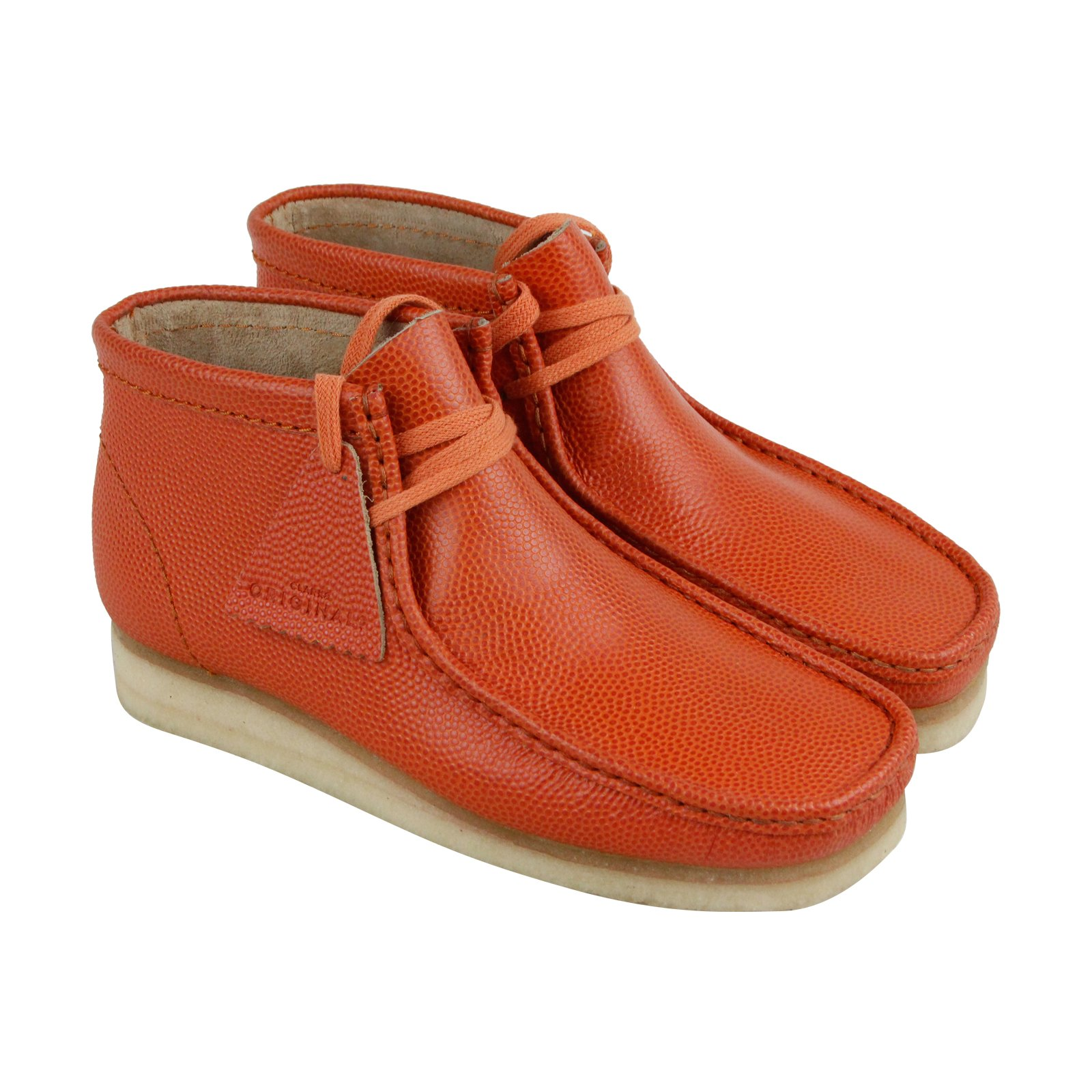CLARKS Wallabee Boot Mens Orange Leather Casual Dress Lace Up Chukkas Shoes 7