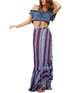 be551a79d Bsubseach Women Boho Print High Waist Side Wrap Split Ruffled Beach Maxi  Long Skirt