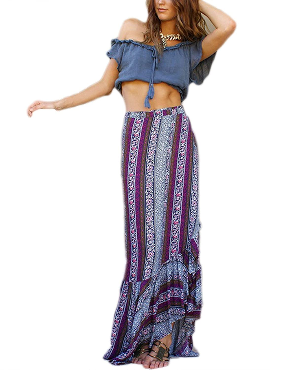 d6e3290180b One Size(inch)  Waist 23.62-35.43 Length 37.4 fit US Size XS-L Sarong wrap-style  print maxi skirt for beach. Long skirt with print pattern