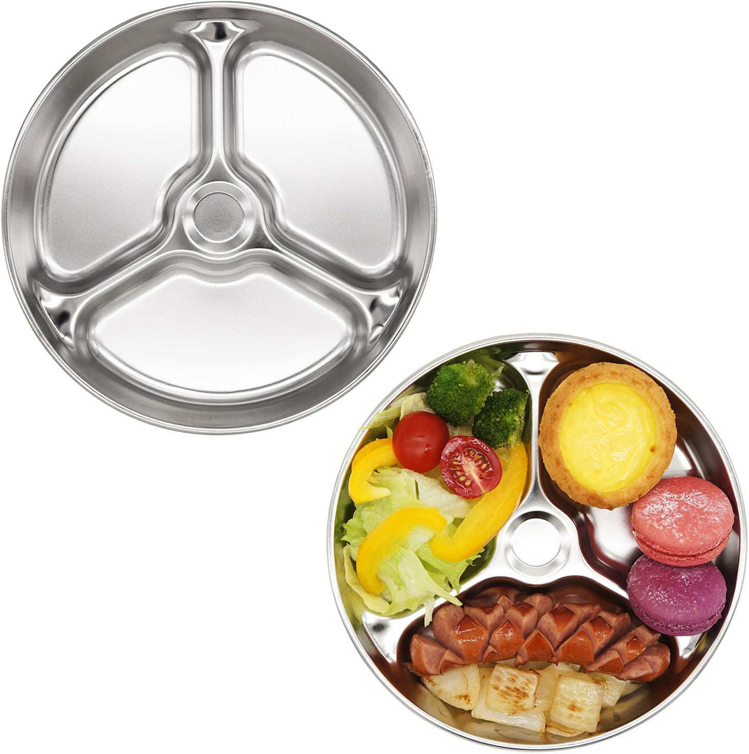 Korean Stainless Steel Divided Round Plates by KS&E, Kids Toddlers Babies Tray, BPA Free, Diet Food Control, Camping Dishes, Compact Serving Platter, Dinner Snack, 3 Compartment Plate Silver, Set of 2