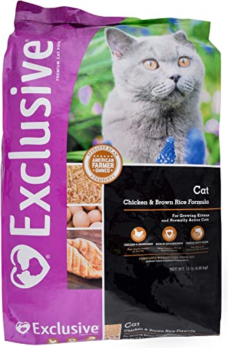 Exclusive Nutritionally Complete Adult Cat Food Chicken and Brown Rice Recipe – 15 Pound 15 lb Bag