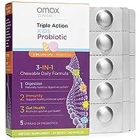 Omax Kids Synbiotic Probiotic + Prebiotic, Natural Berry Flavor Chewables, 5 Billion...