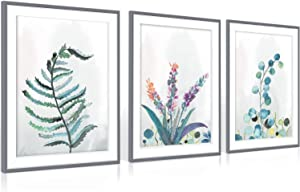 "Audoc Canvas Wall Art Green Leaf Simple Life Painting 13"" x 16"" x 3 Pieces Framed Canvas Pictures Watercolor Prints Contemporary Canvas Artwork Ready to Hang for Home Decoration Kitchen Office Wall Decor"