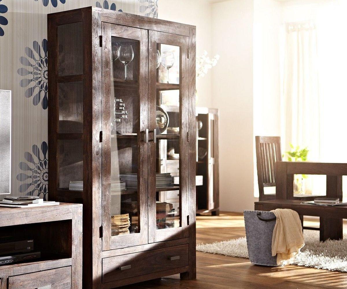 Schrank Guru Akazie Tabak 100x175cm 2 Türen Glasvitrine by Wolf