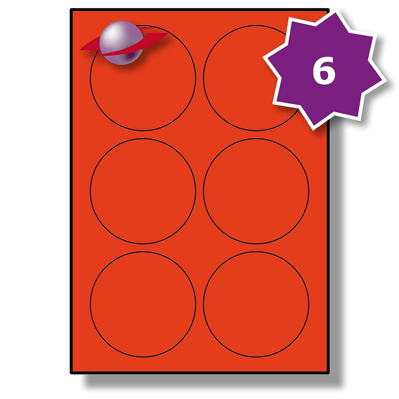Label Planet/® Etichette di Carta Bianca A4 Rotonde per Stampanti a Getto dInchiostro e Laser 85mm Diametro 100 Fogli 600 Etichette LP6//85 R. 6 Par Foglio