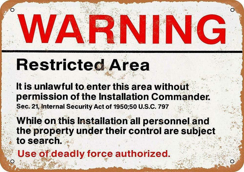 CHUNZO Warning Restricted Area pared caracteres creatividad personalisierte metal Plaque arte Vintage decoraci/ón hojas artesan/ía colgar p/óster Cafe Bar Garage