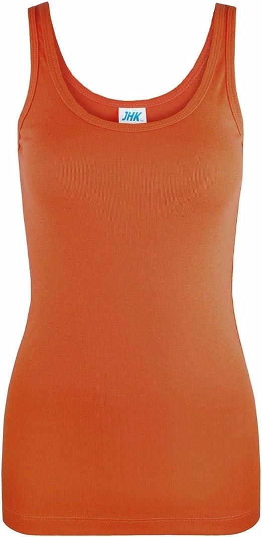 Camiseta sin mangas para mujer, 100% algodón, ajustada, para verano, para mujer Naranja naranja oscuro S: Amazon.es: Ropa y accesorios