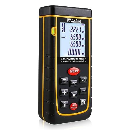 Tacklife A-LDM01 40 Advanced Laser-Entfernungsmesser Distanzmessgerät (Messbreich 0,05~40m/±2mm mit LCD Hintergrundbeleuchtun