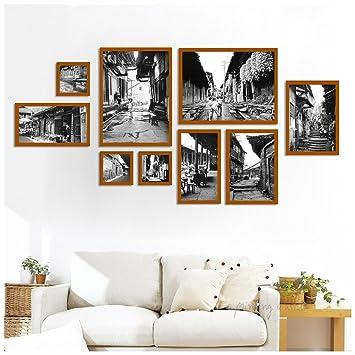 Set Von 9 Bilderrahmen Collage Schwarz Weiß Alte Bild Retro Wohnzimmer  Malerei (