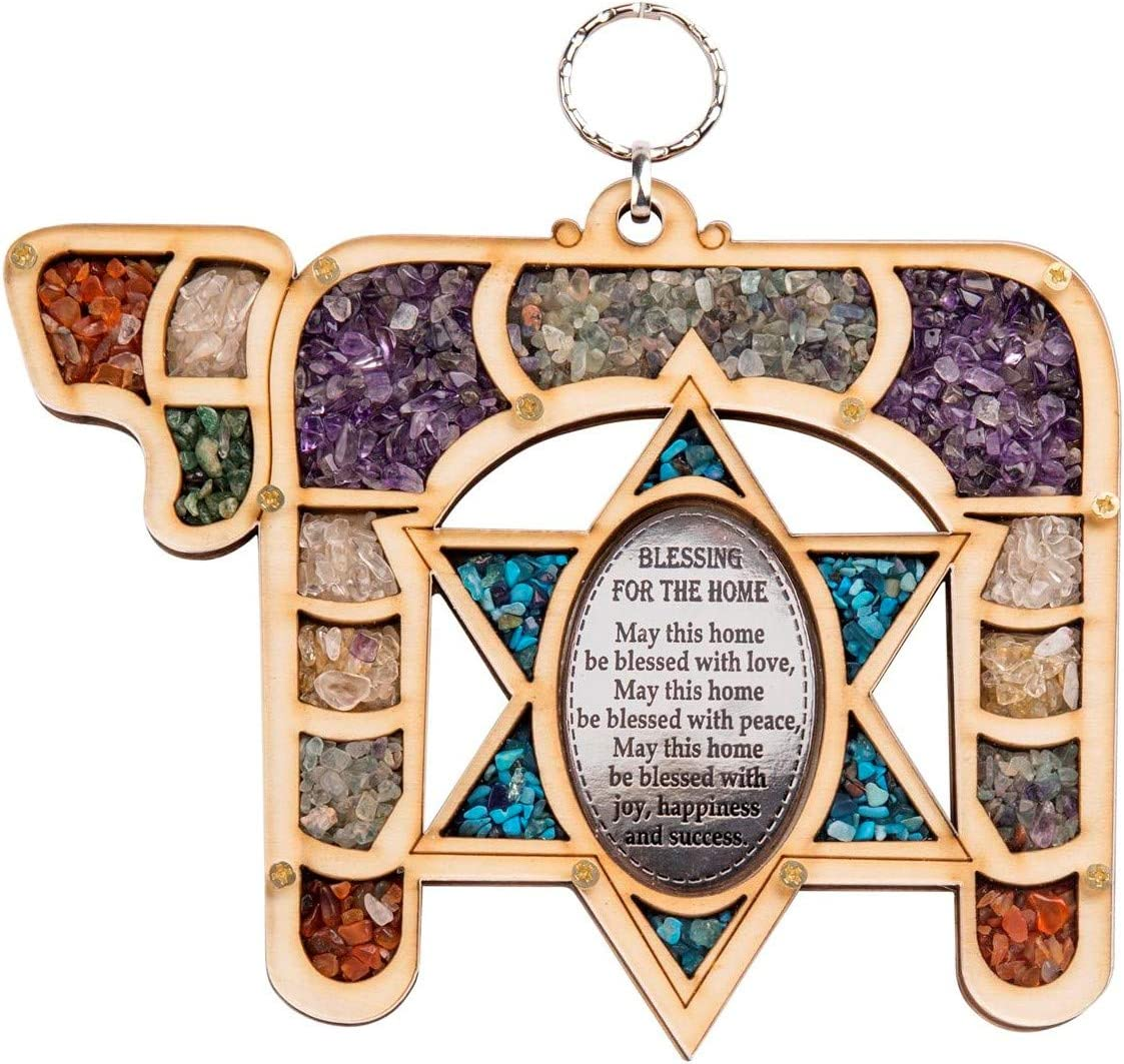 Anandashop-UK- New Chay Star of David Home Blessing with Semi Precious Stones Wooden Wall Mounted Hanging Judaica Gift