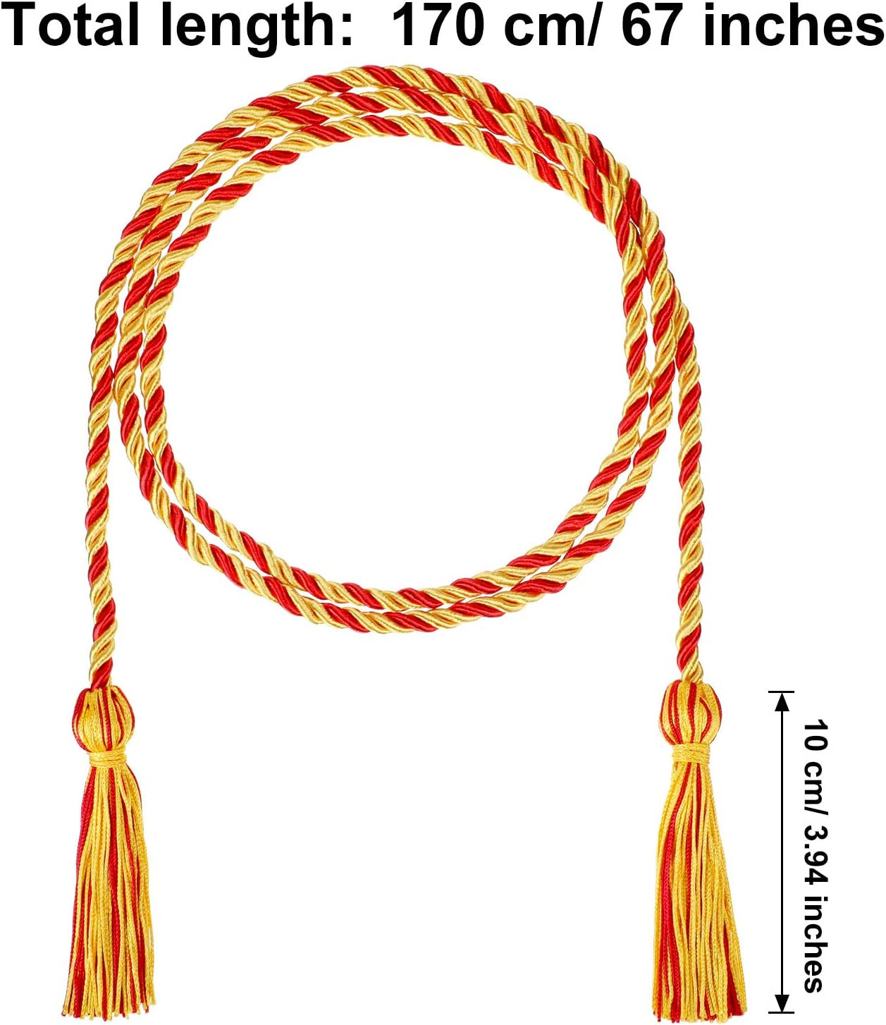 2 Pieces Graduation Cords Polyester Yarn Honor Cord with Tassel for Graduation Students Gold and Gold with Red