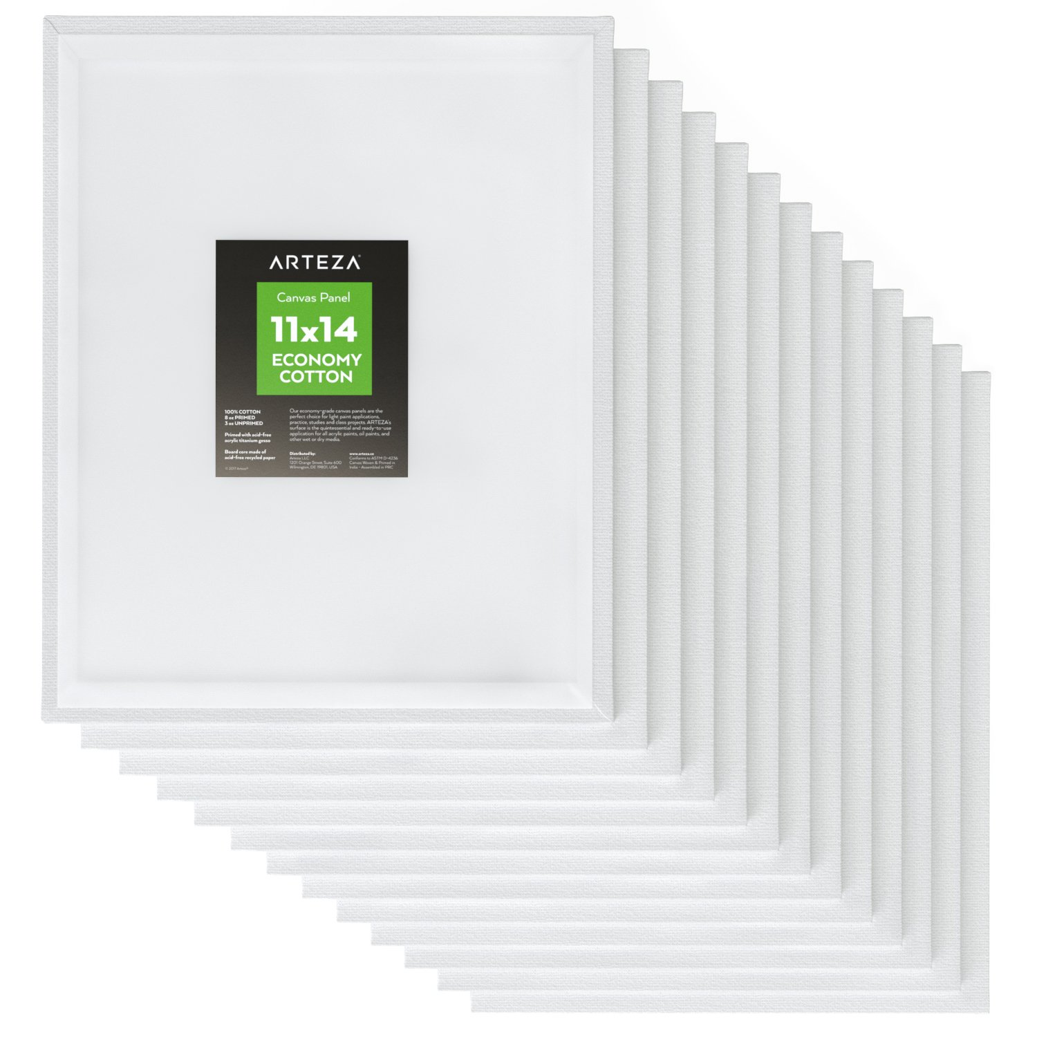 Arteza 11x14'' White Blank Canvas Panel Boards, Bulk Pack of 14, Primed, 100% Cotton for Acrylic Painting, Oil Paint & Wet Art Media, Canvases for Professional Artist, Hobby Painters & Beginners by ARTEZA (Image #1)