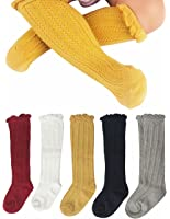 Gellwhu Newborn Baby Girl Boy Toddler Cable Knit Knee High Cotton Socks 5 Pack