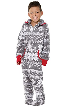 e26518b026 Amazon.com  PajamaGram Big Boys  Hoodie-Footie Fleece Onesie Pajamas ...
