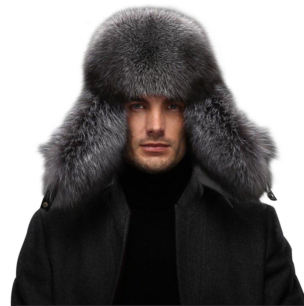 Queenfur Men's Fur Hat - Winter Real Raccoon Fur Cap Fox Fur Genuine Leather Russia Aviator Hats (Silver Fox Fur),One Size by QUEENFUR