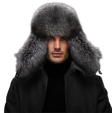 158f107ec Queenfur Men's Fur Hat - Winter Real Raccoon Fur Cap Fox Fur Genuine ...