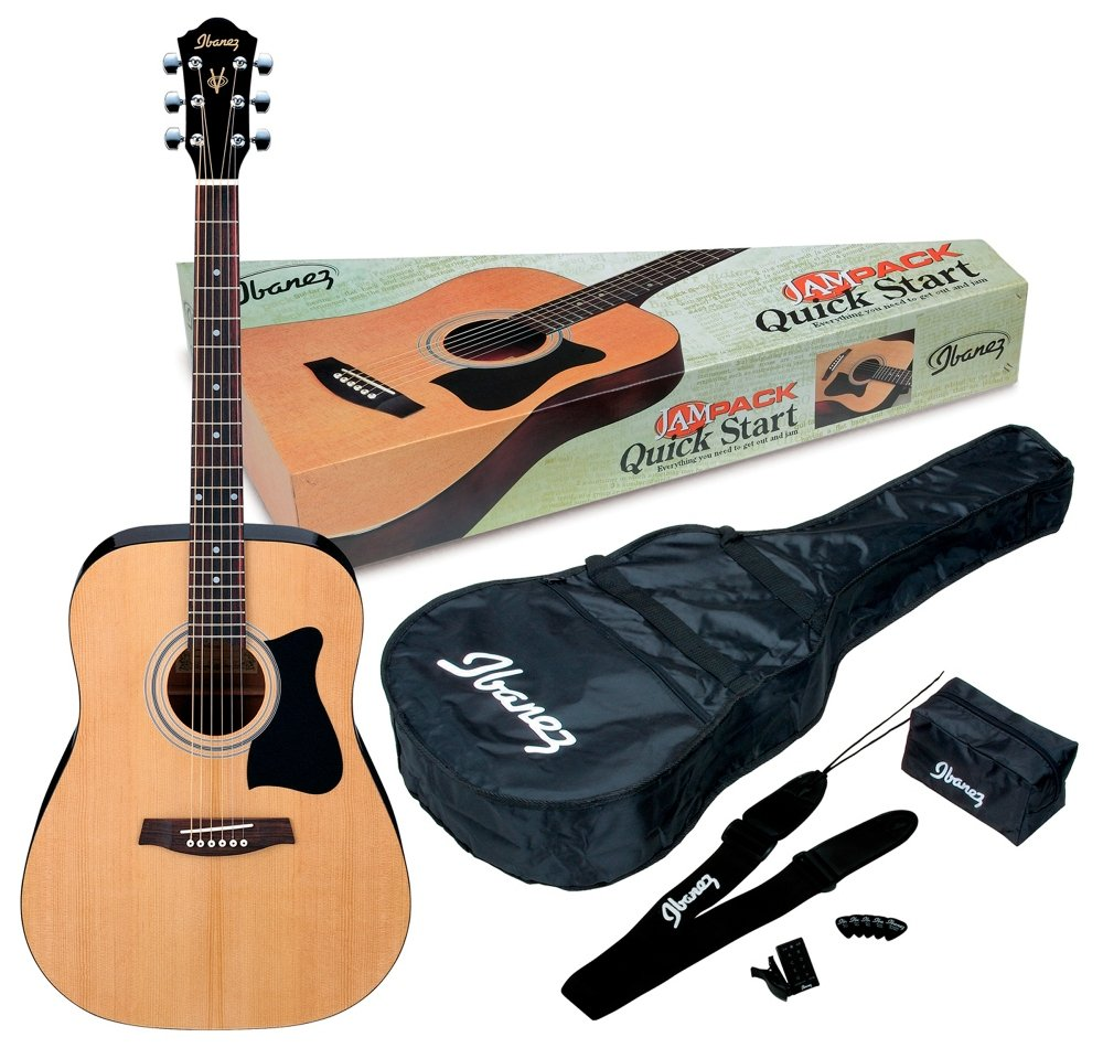 Ibanez 6 String Acoustic Guitar Pack, Ambidextrous, Natural Gloss (IJV50) by Ibanez