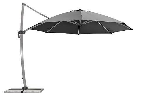 Schneider Sonnenschirm Rhodos Rondo, Anthrazit, 350 Cm Rund, Gestell  Aluminium, Bespannung Polyester