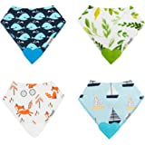 ROBABY Quality Designer Baby Bibs with Teether – Bargain – 4 Pack – Baby BOY - Drool Bibs for Teething Baby – Gift Set - Bandana Bibs Style with Pacifier …